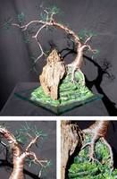 Cascade on Glass  - Wire Tree Sculpture