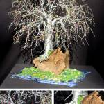 """BONSAI ISLAND  No.2 - Beaded Wire Tree Sculpture"" by WireTrees"