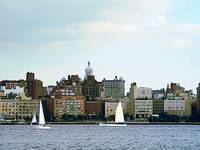 New York - Two Sailboats Against Manhattan Skyline