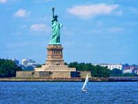 Manhattan - Sailboat By Statue Of Liberty