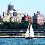 """New York - Sailboat Against Manhattan Skyline"" by susansartgallery"