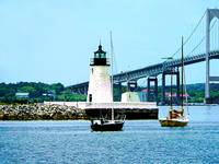 Rhode Island - Lighthouse Bridge And Boats Newport