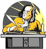 Ben Franklin Writing Retro