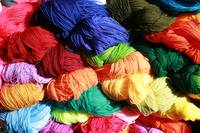 Bright Colored Skeins of Wool