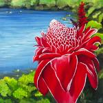 """Red Torch Ginger Lily"" by monicadowns"