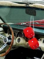 Red Fuzzy Dice In Converible