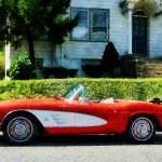 """Red And White Corvette Convertible"" by susansartgallery"