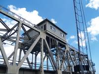 Industrial Steel Railroad Bridge, Deep Blue Sky