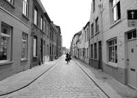 Biking in Bruges - Black and White