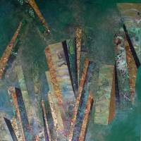 Baroque Columns on Green Art Prints & Posters by Lynda Stevens