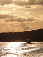 A Speed Boat Races Down A River At Sunset