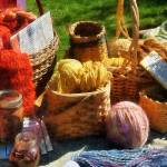 """Baskets Of Yarn At Flea Market"" by susansartgallery"