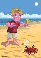 cartoon boy with crab on beach
