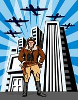 Space Cowboy with Buildings and Airplane