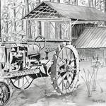 """tractor black and white drawing"" by derekmccrea"