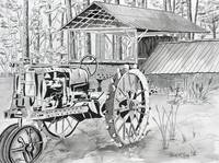 tractor black and white drawing