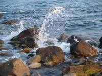 Ocean Waves Spray Coastal Barrier Boulders