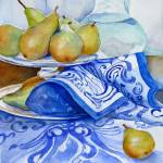 """Golden pears on Blue Cloth"" by rose1"