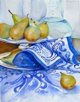 Golden pears on Blue Cloth