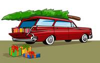 Red Car Station Wagon Christmas