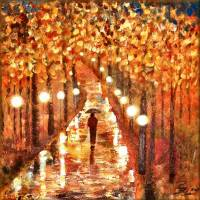 A Walk In The Rain Art Prints & Posters by Peggy Garr
