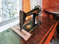 Sewing Machine Near Lace Curtain