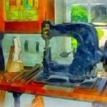 """Sewing Machine In Harness Room"" by susansartgallery"