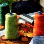 """Large Spools Of Thread"" by susansartgallery"