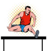 track and field athlete jumping hurdle
