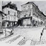 """peintures-original-rue-montmartre-la-nuit-3767353-"" by NicolasJolly"