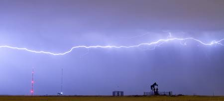 Long Lightning Bolt Strike Across Oil Well Country