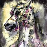 """Arabian Stallion With Headdress Horse Painting"" by GinetteCallaway"