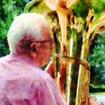 """Man Playing Tuba"" by susansartgallery"