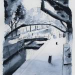 """Canal Saint-Martin - Paris - Watercolor"" by NicolasJolly"