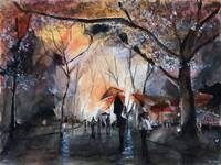 Autumn Rain - Paris - Watercolor