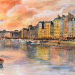 """Sunset over Honfleur - Watercolor"" by NicolasJolly"