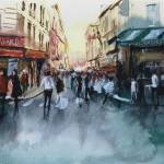 """The crowd - Paris - Watercolor"" by NicolasJolly"