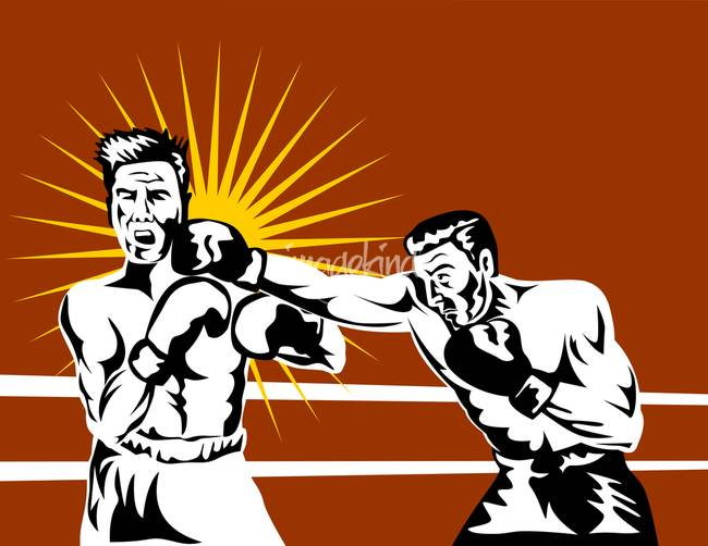 Boxing match cartoon