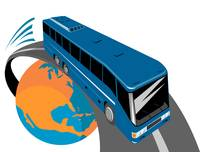 tourist coach bus globe
