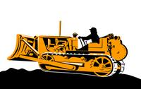 illustration of a bulldozer mechanical digger on i