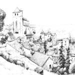 """saint-cirq lapopie_encre"" by NicolasJolly"