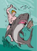 Man Diver Wrestling Shark