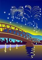 Bridge with Buildings and Fireworks