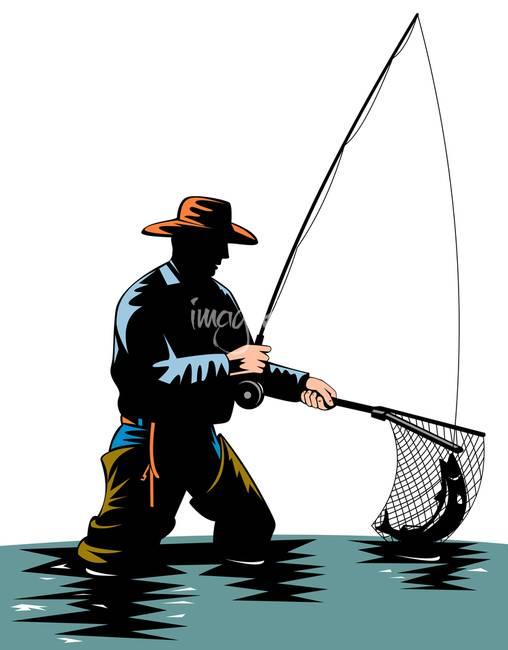 графическое изображение рыбака