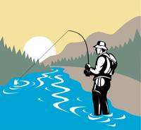 fly fisherman with rod and reel