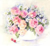 orginal watercolor pink rose in vase