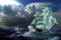 A Cloud of Sails on a Vintage Ship in Rough Seas