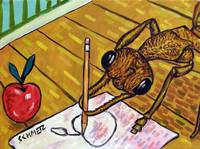 bulldog ant drawing an appleadj