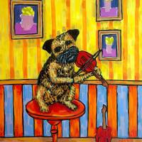 Border Terrier playing the Violin Art Prints & Posters by Jay Schmetz