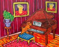 Norfolk Terrier Playing Piano